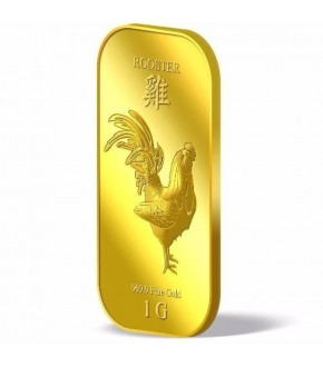 Tomei Puregold Singapore Golden Rooster Gold Bar 1g